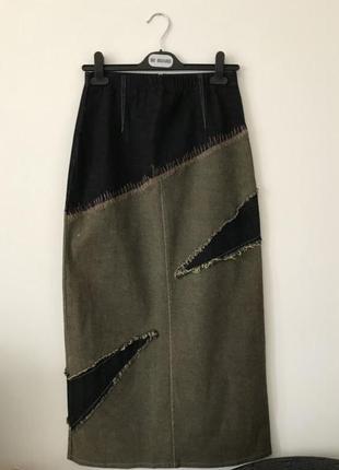 Винтажная длинная юбка джинсовая винтаж ретро вінтажна спідниця