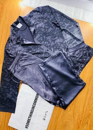 Женская шёлковая атласная пижама/одежда для дома