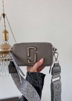Женская сумка в стиле marc jacobs snapshot silver mini.