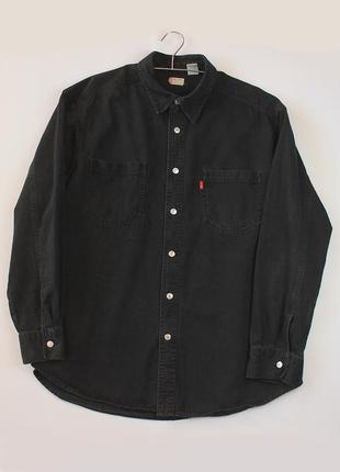 Джинсовка джинсовая рубашка levis темная черная