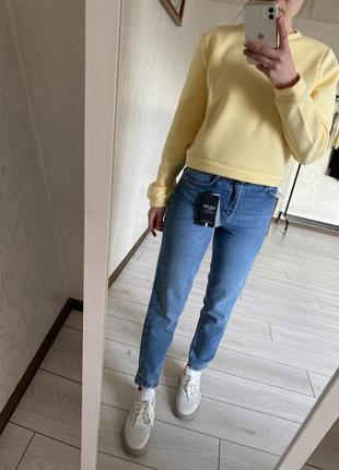 Жіночі голубі сині стильні джинси mom, синие джинсы мом