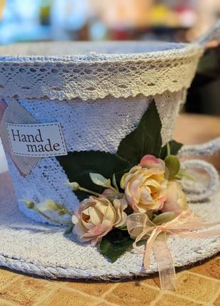 Оригінальне кашпо-чашка з мішковини