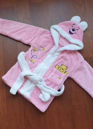2-3-4 года(86-92-98 см) disney стильный махровый халат для девочки
