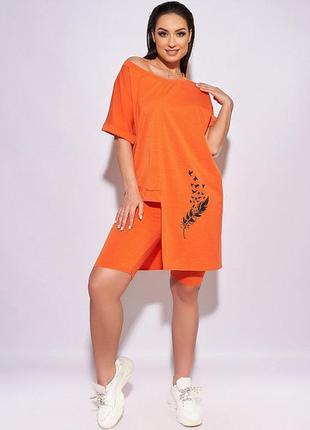 Летний женский костюм большого размера  3 цвета