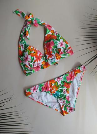 S, m, l купальник в цветы с паралоновыми вкладышами colours of the world