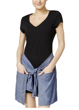 Короткое черное  платье, с юбкой, имитирующей завязанную рубашку ( сша) m