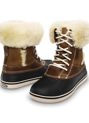 Шкіряні чобітки сrocs luxe duck зі сша, розмір 6, устілка 22. 5-23 см