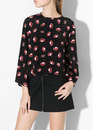 Топ блузка mango s чёрная цветы красная блуза цветочный принт блузочка рубашка кроп