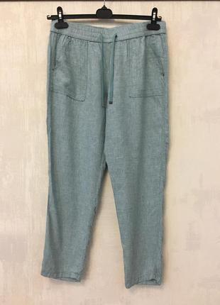 Льняные брюки бананы, штаны натуральный лен вискоза