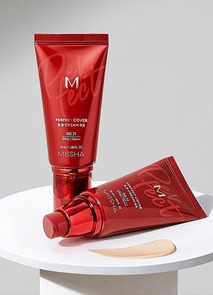 Новое поколение тонального крема missha бб-крем новинка m perfect cover bb cream rx №21 (лёгкий беж) 50 мл
