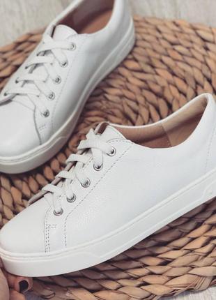 Кеды кожаные белые