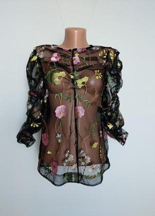 Черный прозрачный блуза-топ с цветочной вышивкой h&m  s-m