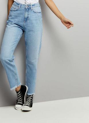 Новые с этикетками джинсы высокая посадка мом mom джинс рваные new look tori