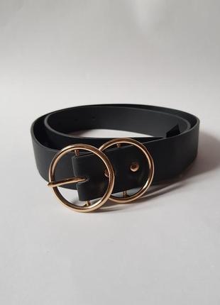 Шикарный черный ремень с двойной пряжкой,ремень под кожу,ремень с кольцами