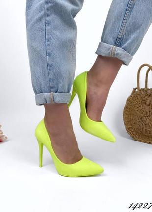 Женские туфли лодочки на шпильке неоновый жёлтый