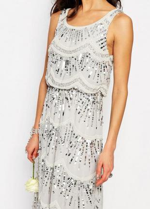 Maya роскошное серебряное платье декор