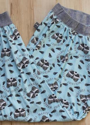 Милые домашние, пижамные штаны с енотами, размер xl, есть нюанс