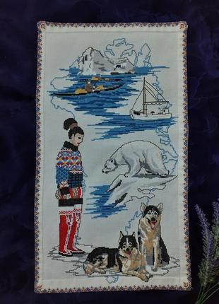 Картина панно север якутия ручная работа вышивка крестом винтаж хаски белый медведь