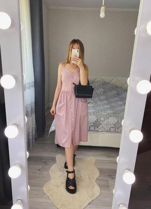 Новое розовое платье лен миди