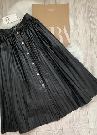 Кожаная юбка плиссе zara xs