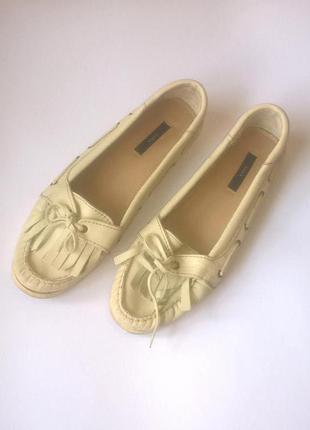 Акция!!! -50% на вторую вещь кожаные туфли лоферы без каблука zara