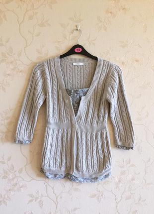 Натуральный свитер в косы от m&s с имитацией рубашки 44-46