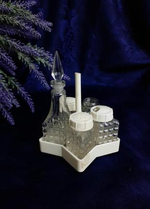 Набор спецовочниц ссср звезда львовский стекольный советский солонка перечница стекло