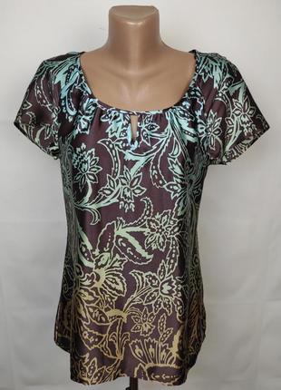 Блуза шелковая легкая красивая в принт autograph uk 10/38/s