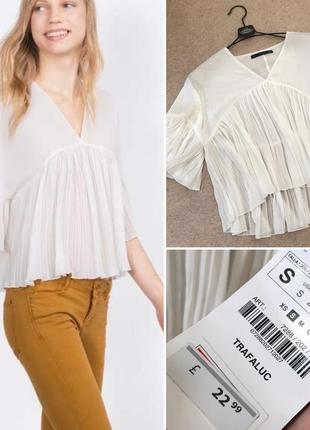 Zara! стильная шифоновая  блузка 👚 в стиле бохо. оверсайз