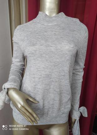 🤍🤍🤍🤍💗шикарный натуральный шерстяной пуловер с шикарным рукавчиком mango