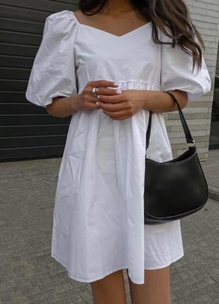 Платье сарафан белый белое коттон коттоновое летнее короткое на лето хит тренд мастхев 2021