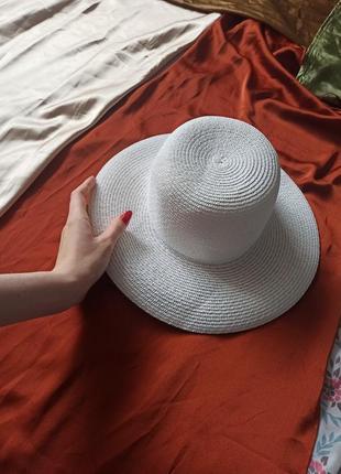 Белая, соломенная шляпа, панама, летняя, плетёная, с широкими полями, защита от солнца, капелюх