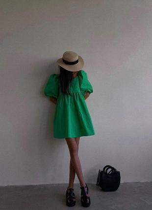 Платье зелёное изумруд изумрудное сарафан хит тренд коттон коттоновое короткое летнее на лето