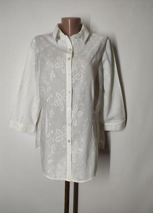 Белая натуральная хлопковая рубашка прошва мережка вышивка per una