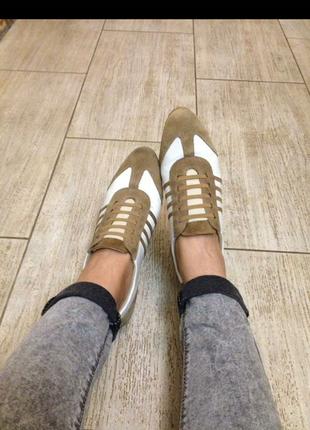 Кроссовки кеды туфли спорт спортивные белые кожа