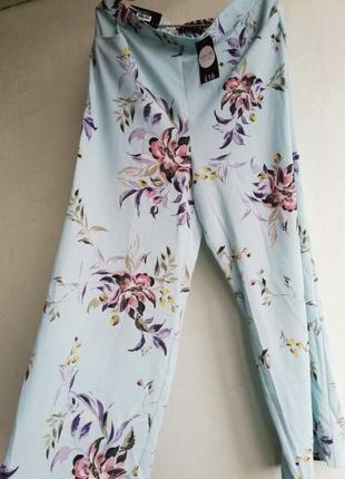 Красивые летние брюки,штаны цветочный принт peacocks, размер 14