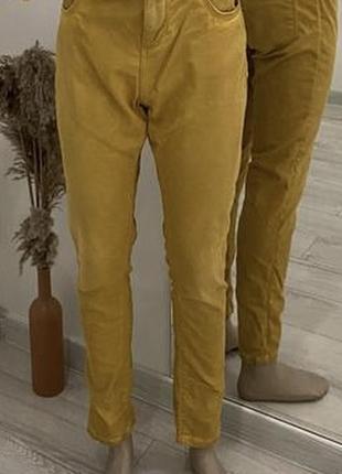 🧡рижі-жовті джинси штани))грязно желтые штаны джинсы