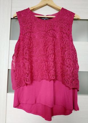 Красивая блуза вискоза с кружевом розовая фуксия laura ashley