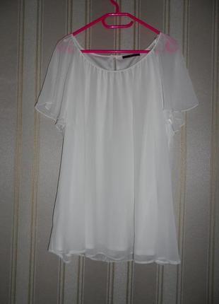 Белая блуза короткий рукав размер 50-52 // 5xl-6xl  полиэстер