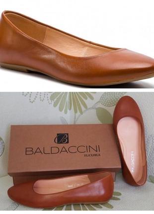 Балетки кожаные рыжие baldaccini из натуральной кожи