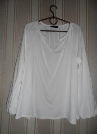 Белый лонгслив/ топ длинный рукав размер 40// l  хлопок