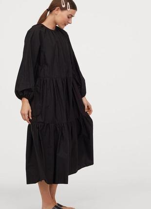 Натуральное платье h&m мидакси поплин ярусное xl черное