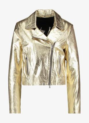 Новая куртка косуха freaky nation золото кожа кожанка золотая косуха