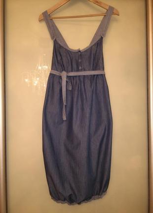 Стильное джинсовое платье/сарафан - балон united colors of benetton (италия) 100% хлопок
