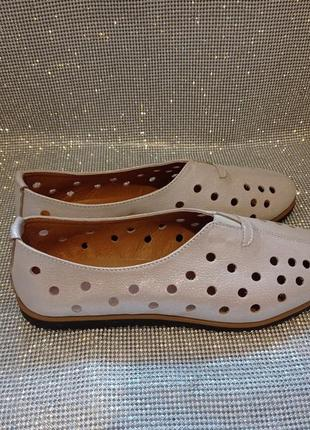 Туфли мокасины кожаные с перфорацией 40р.