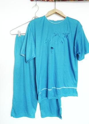 Домашний мягкий костюм пижама большого размера штаны и кофта