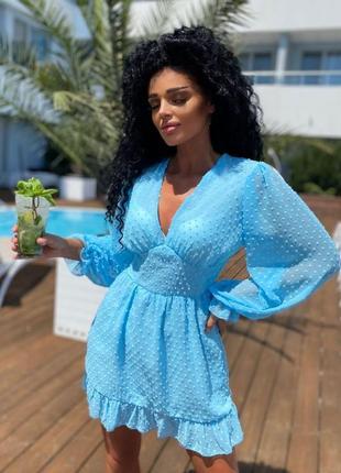 Нежное голубое шифоновое платье
