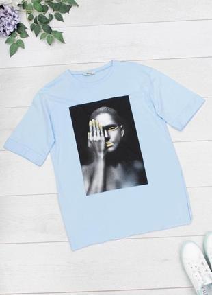 Стильная голубая футболка с рисунком принтом девушка оверсайз большой размер батал