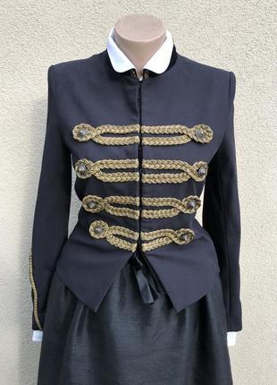 Жакет с бархатом,пиджак,блейзер с золотыми нашивками,премиум бренд