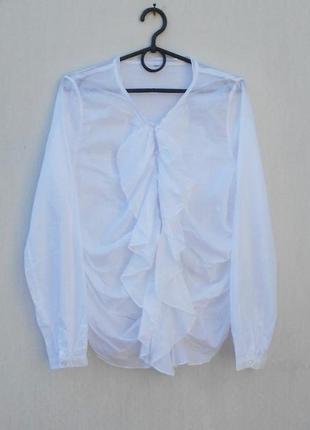 Легкая  белая хлопковая блузка с длинным рукавом